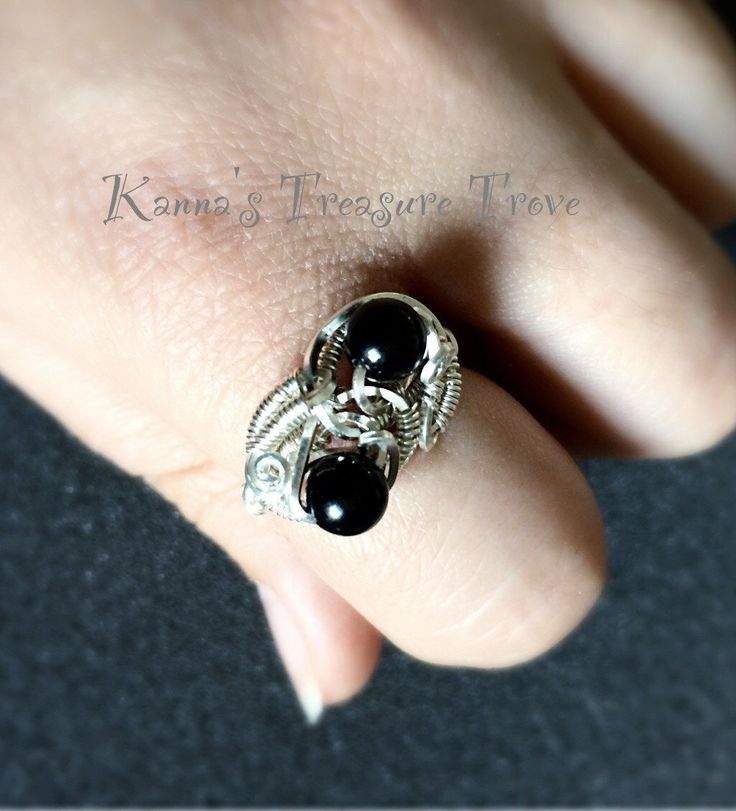 Size 9 Black Onyx 925 Sterling Silver Dual Wire Wrapped Statement Ring  by KannasTreasureTrove on Etsy
