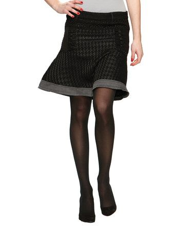Take a look at this Black Houndstooth Woven Knit Skirt - Women by Desigual on #zulily today!