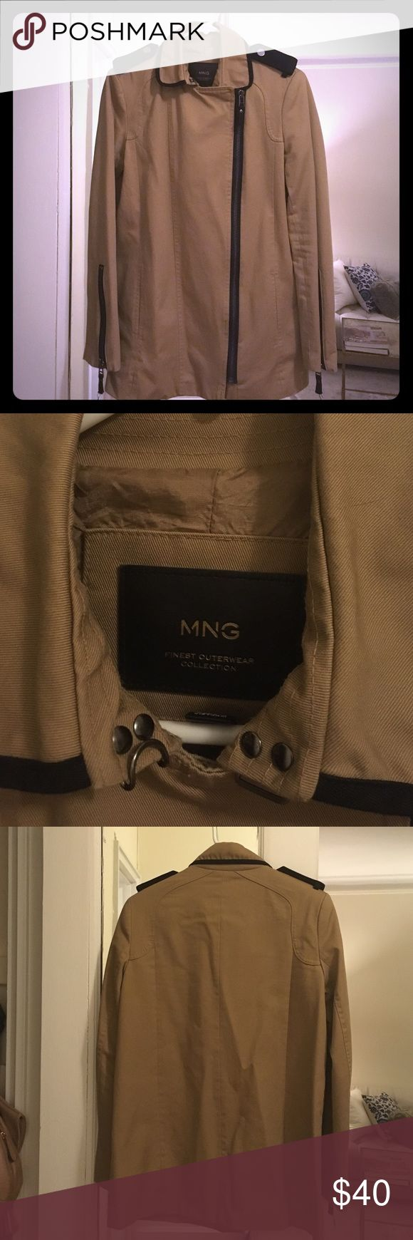 Mango khaki field jacket Size XS (fits like S) cotton khaki field coat by Mango. Black trim. Zips up front and zippers on sleeves. Fully lined. Looks like Burberry. Mango Jackets & Coats Utility Jackets