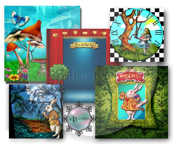 Alice In Wonderland Themed Backdrop Papers  by Beauladigitals
