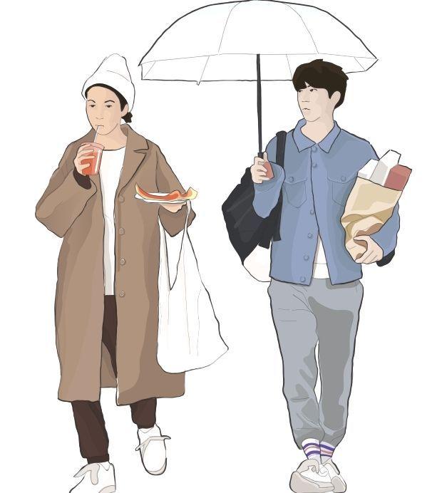 Vector Cutout People Walking With Umbrella Vector Cutout People People Illustration Render People Cartoon People