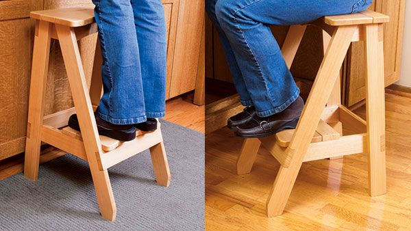 This stool's seat is the perfect height for sitting at a countertop, and the wide step is a stable platform for reaching high places.