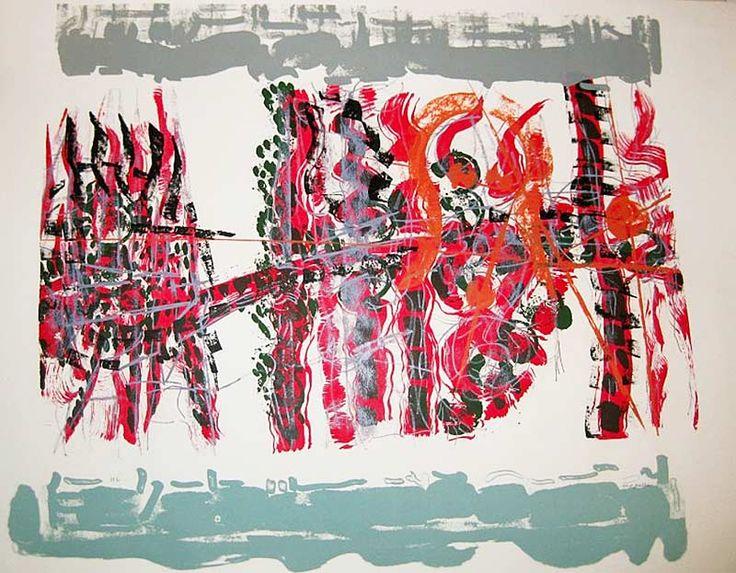 "Jean Paul Riopelle, Le Couchant, 1979, Lithographie, 22"" x 25.5"""
