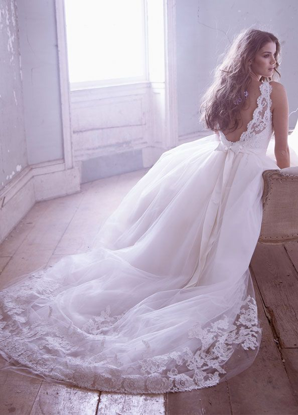 Jim Hjelm - Ivory Tulle Bridal Ball gown, sleeveless Alencon lace bodice accented with Ivory Moire ribbon, bateau neckline, V-back, chapel train - Style JH8315