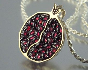 Small POMEGRANATE garnet 14k gold & silver pendant by WingedLion