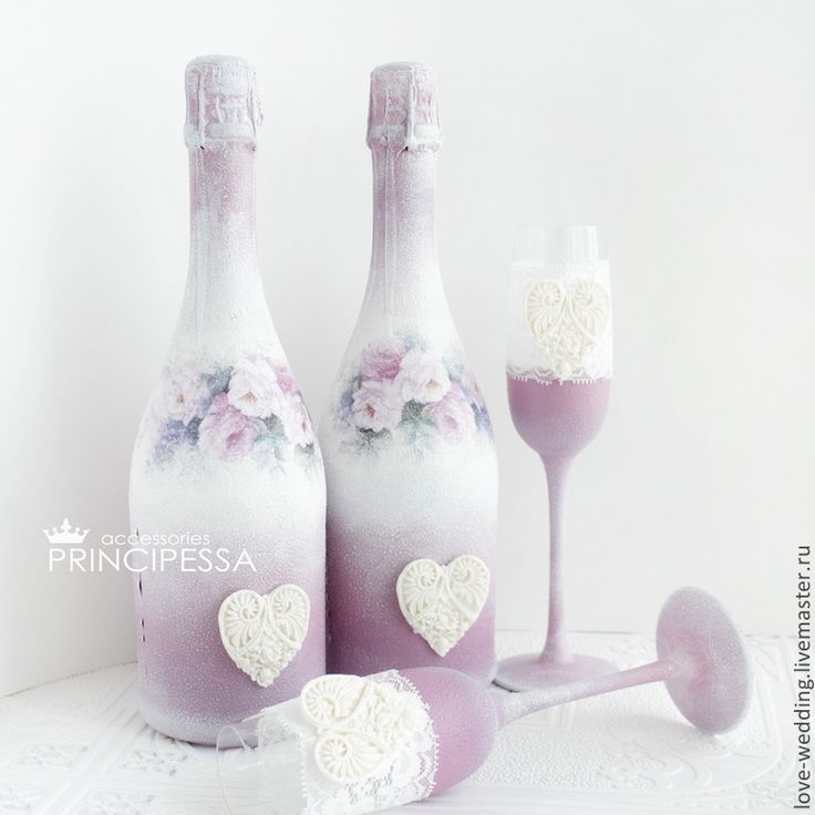"""Купить """"Виола"""" шампанское свадебное - сиреневый, Аксессуары handmade, свадьба, свадебные аксессуары, все для свадьбы"""