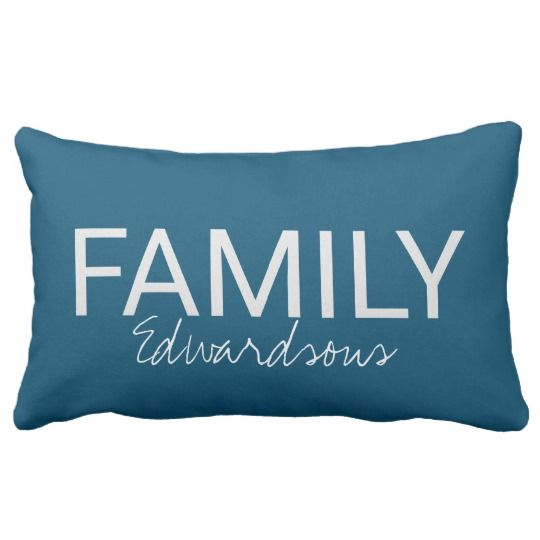 Modern Rustic blue family name script throw pillow. You can personalize it and add your own text and name.