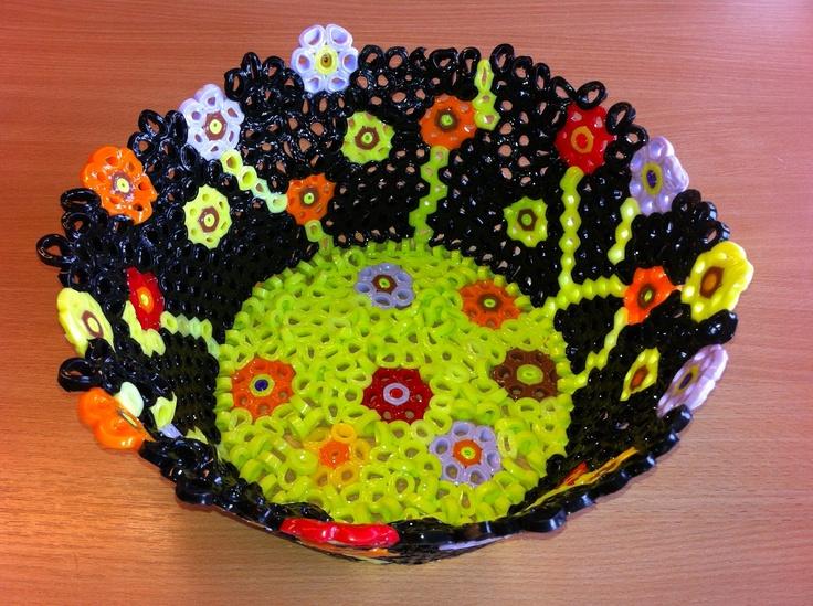Make your own bowl with NABBI Jumbo beads. All you need is a bowl, NABBI jumbo beads, oil and an oven :)  #perler   Perler beads - fuse beads - hama beads