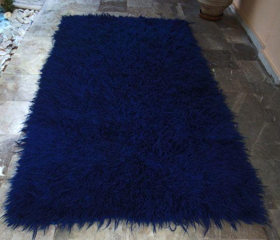 Beautiful Bold Blue!!! Vintage Blue Flokati  Rug  Area Carpet  by VintageHomeStories