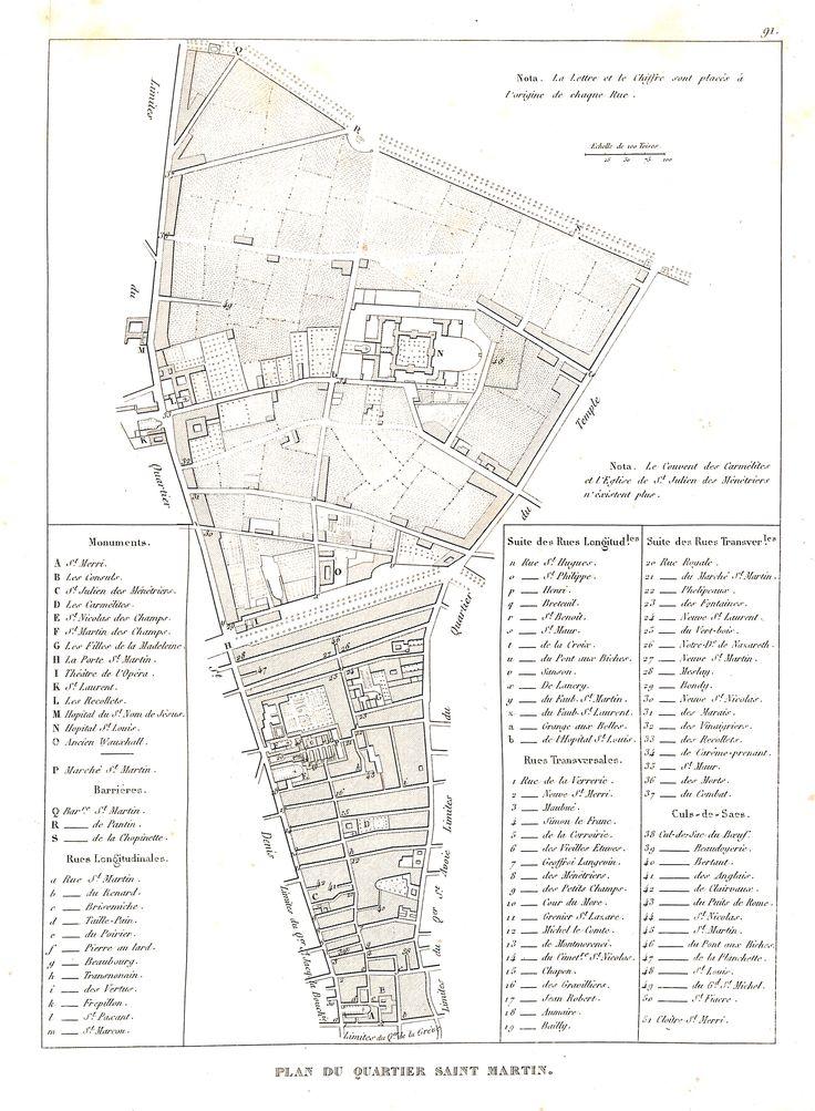 Plan du quartier Saint-Martin - plan de Paris en 1839 - Dressé par Charle & gravé par P. Rousset pour J. de Marlès à Bruxelles