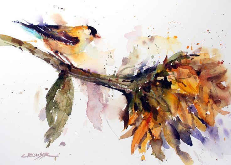 Stampa acquerello uccello e girasole di Dean di DeanCrouserArt