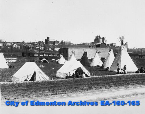 Aboriginal settlement near Rossdale (City of Edmonton Archives)