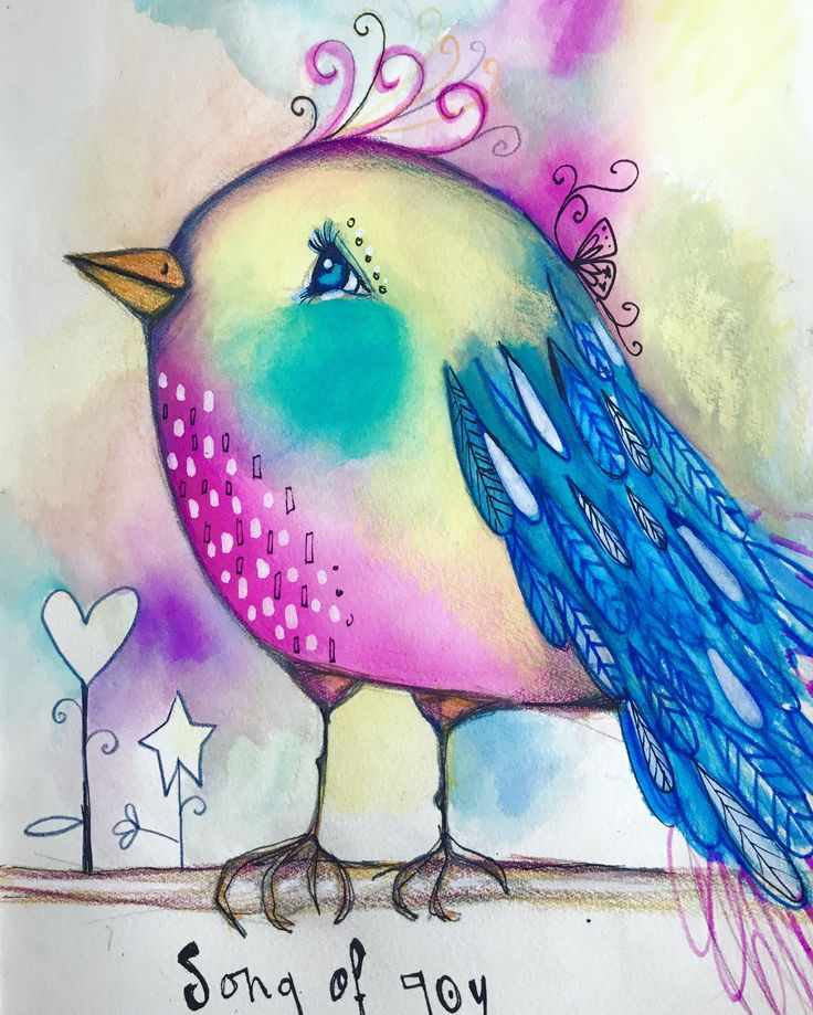 Just finished another cute little birdie I started for a live #artjournal session on Facebook! So much fun! You can watch the session by going to my personal profile: www.facebook.com/Willowing #willowing #mixedmedia #willowingarts #tamfb