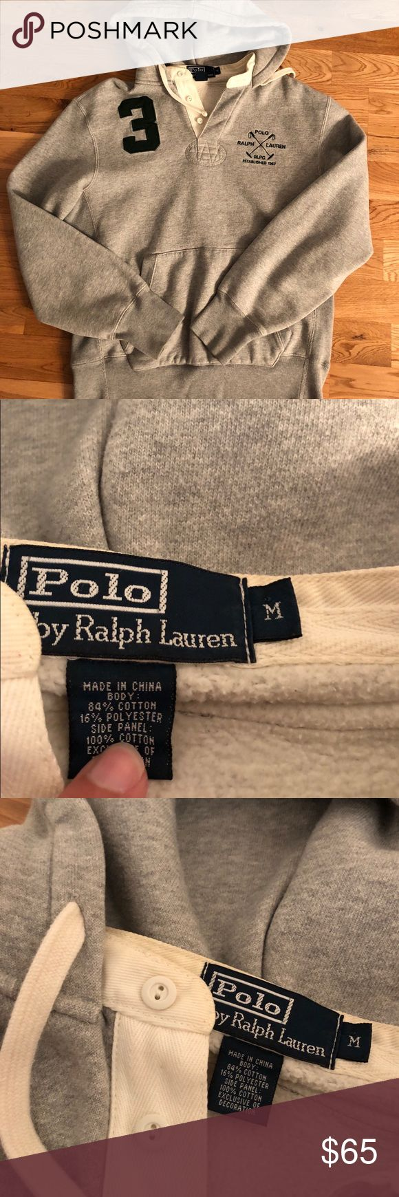 Polo Ralph Lauren Rugby Polo Hoodie Polo Ralph Lauren Rugby Hoodie  -Size Medium -A very rare hoodie, extremely hard to find in size Medium -#3 embroidery on the front, as well as the classic Polo embroidery  -Heather gray colorway  -Heavyweight material, very comfortable; Fleece on the inside  -In great shape, only flaw is some minor yellowing of the collar, barely noticeable at all  -Own a rare polo piece today  -Tap in Polo by Ralph Lauren Jackets & Coats
