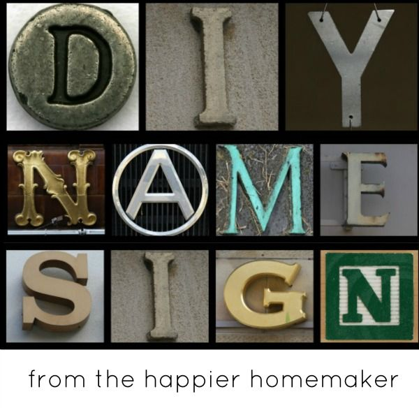 Make your own name sign with photographs! Tutorial by The Happier Homemaker
