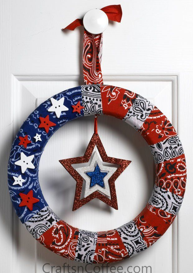 July 4th Stars & Stripes Patriotic Wreath - made with bandanas.