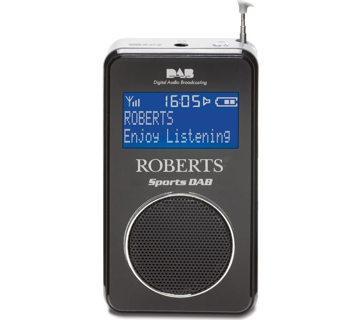 ROBERTS  SportsDAB6 Portable DAB Radio - Black, Black Price: £ 89.99 Perfect for enjoying your favourite sporting events, the Roberts Portable DAB+ Radio has a compact design that fits easily in your pocket or bag. Listen to all your favourite FM, DAB and DAB+ stations wherever you are With a built in rechargeable battery that can last for up to 30 hours, you never need to worry about running...