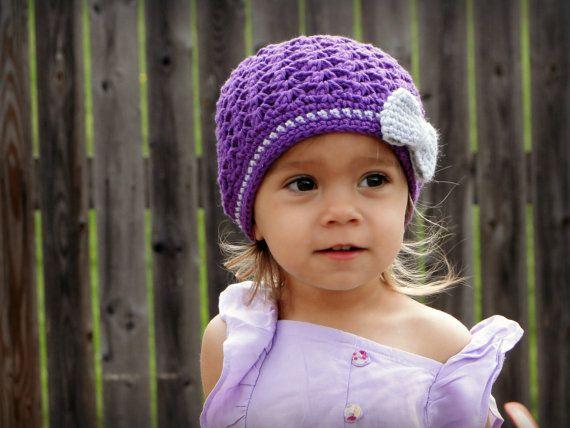 Crochet Girls Hat, newborn hat, girls hat, crochet beanie, kids hat, hat with bow, baby hat