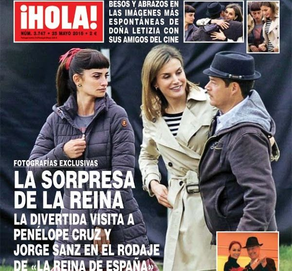 Queen Letizia visits the film set of the 'La reina de España'