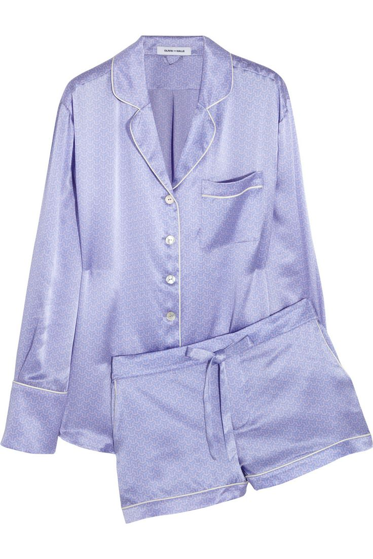 Olivia von Halle|Alba Edie printed silk-satin pajama set|NET-A-PORTER.COM