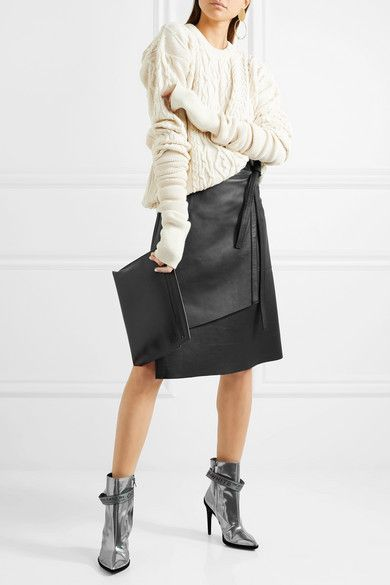 Y/Project sweater, Acne Studios leather wrap skirt, Off-White boots, Loewe pouch