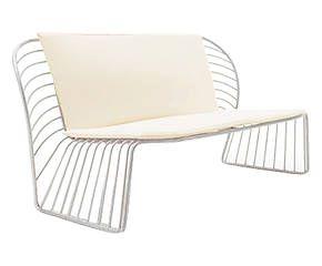 Divano con cuscino in alluminio Letizia bianco - 85x77x80 cm
