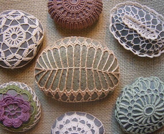 crochet lace over rocks