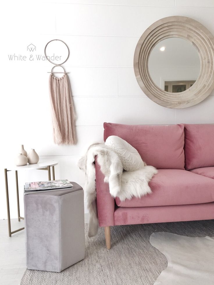 Pink and white living room perfection