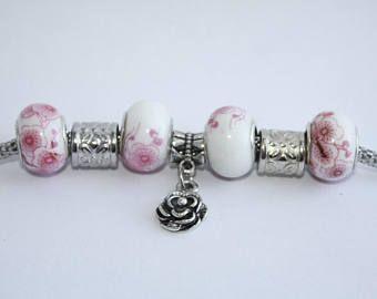 Rose Charm Bracelet - Gardener Bracelet - Three C Jewelry