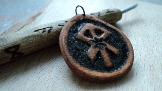 handmade wooden runic God Odin amulet by TOFRAR on Etsy