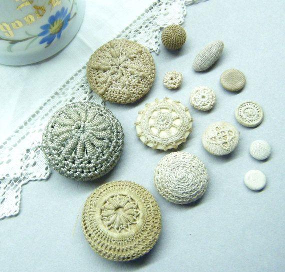 Antique Buttons,Crocheted Buttons,  Hand Made, Needlework,  Mixed Lot,  Ecru Ivory Cream