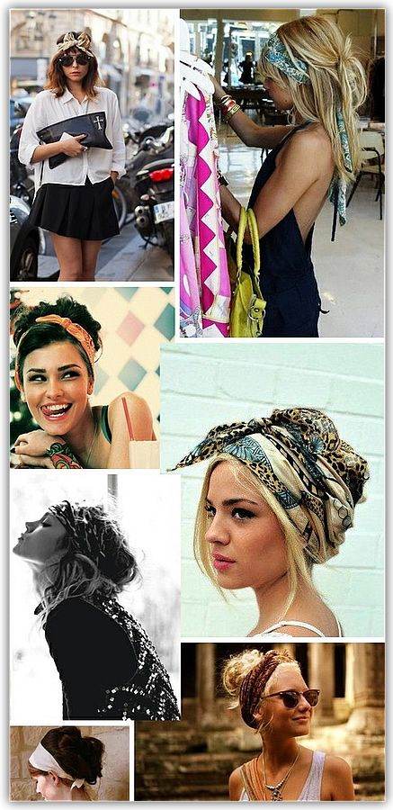 scarves for hair... I do this all the time but mostly with bandanas! They work too (: