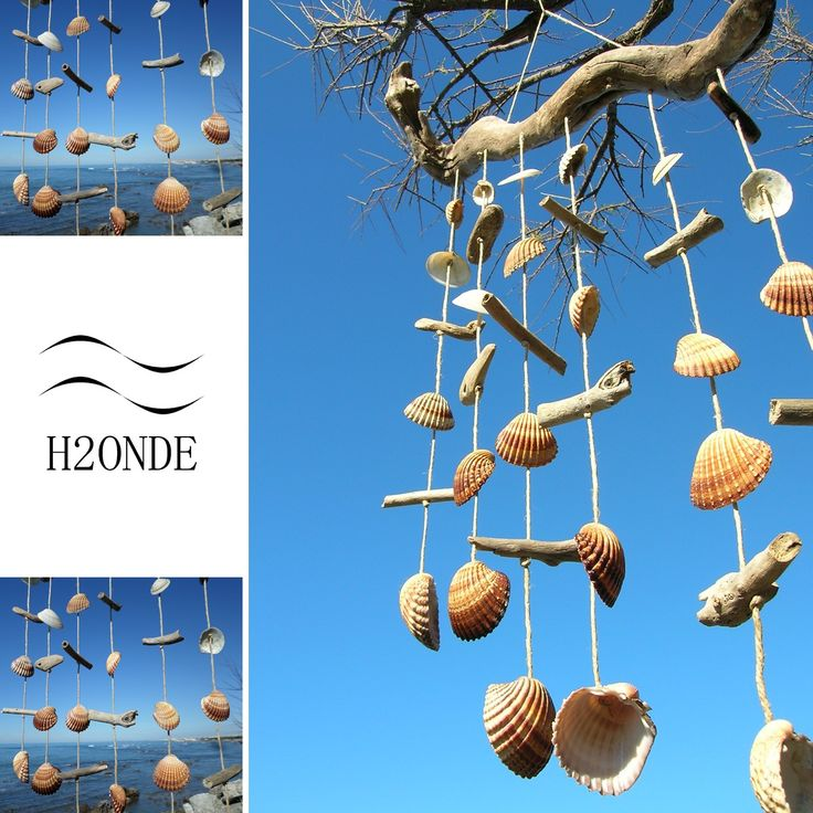 Wind chime dream catcher driftwood beach seashell decor wall gift idea rustic coastal wedding garden patio living modern hanging outdoor art shell pool area garden floating dream catcher wood farmhouse coastal marine ocean style beach decor wall art acchiappasogni sonagli al vento legno di mare conchiglie spago arredo da muro regalo stile rustico marino giardino naturale rustico moderno h2onde vendita shop online piscina giardino arredo terrazzo balcone casa al mare