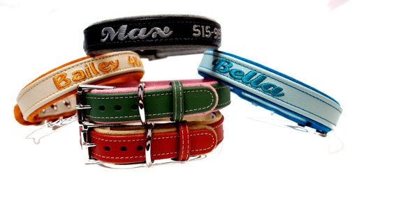One Inch Personalized Leather dog collars.  Sizes from 12-22 inches by , Ruggit Collars