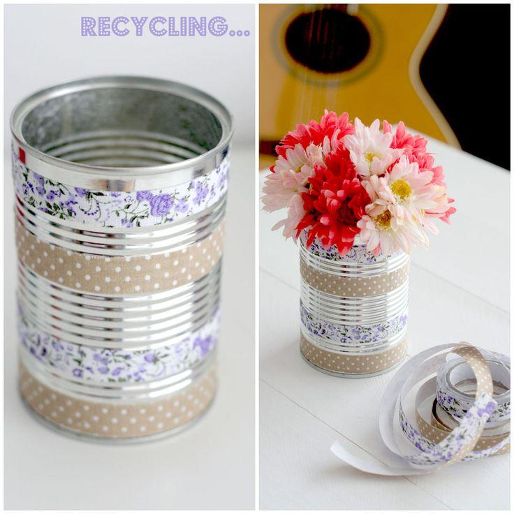 Como decorar latas para macetas buscar con google - Como decorar con washi tape ...