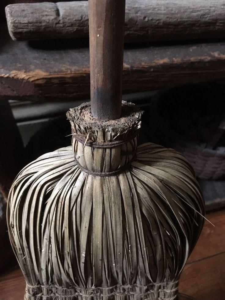 Old Antique Early Handmade Hearth Shaved Sweeping Broom Patina AAFA