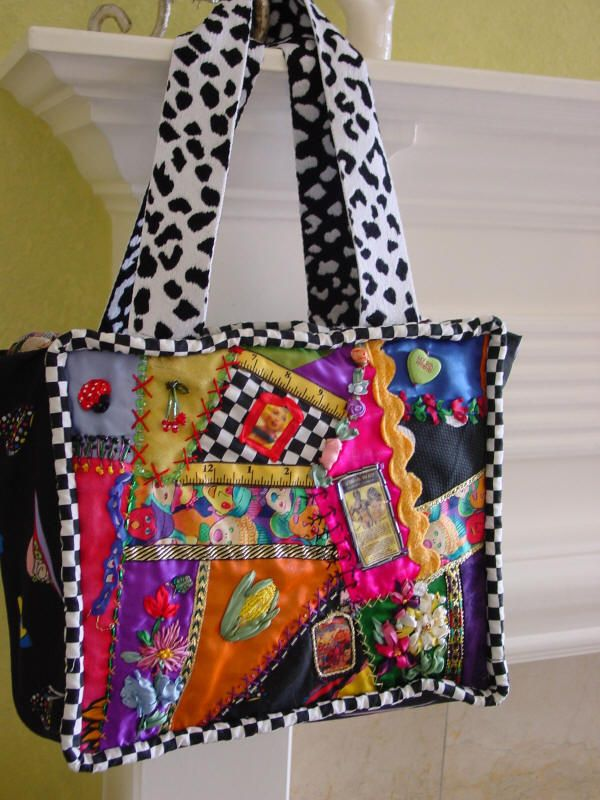 Crazy Quilted Bag Would Make A Good Practice Project