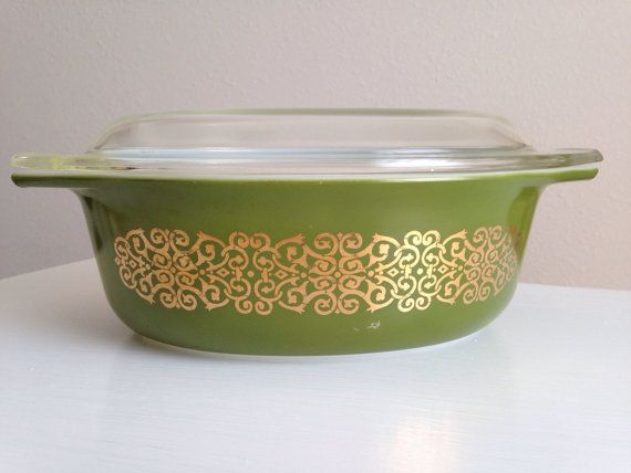 Green Bramble or Gold on Green Scroll Pyrex Casserole Dish  This rare promotional Pyrex dish is quite a find! An unusual dark green with the