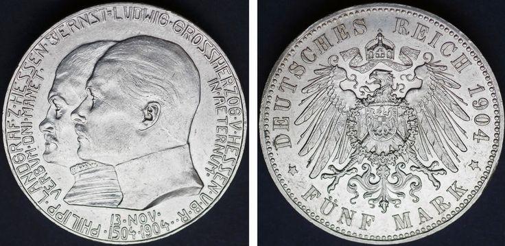 5 SILVER MARKS/5 MARCOS PLATA. ERNST LUDWIG I. HESSE-DARMSTADT. 1904. AU/SC-.
