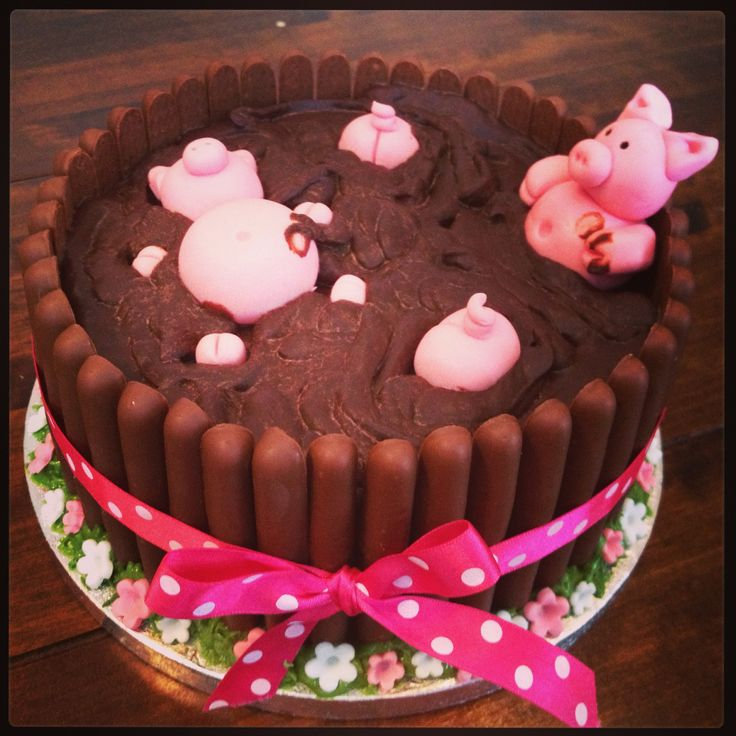 Pigs In Mud Birthday Cake