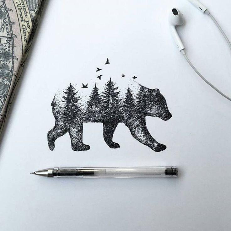 Bear drawing by @alfredbasha #artinspires #theartisthemotive .