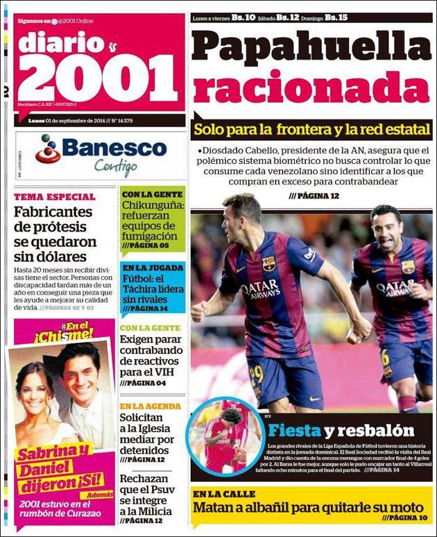 #Titulares de @2001OnLine Lunes 01/09/2014 #DesayunoInformativo #Noticias #Prensa #PrimeraPagina