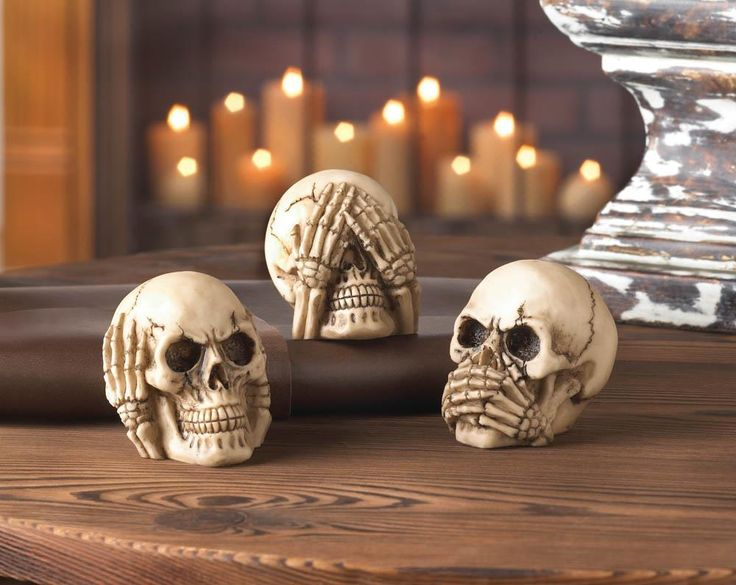 See no evil, hear no evil, speak no evil! This trio of polysresin skull figurines puts a rock-n-roll spin on that classic adage. Great for Halloween or showcase your whimsical style all year long.