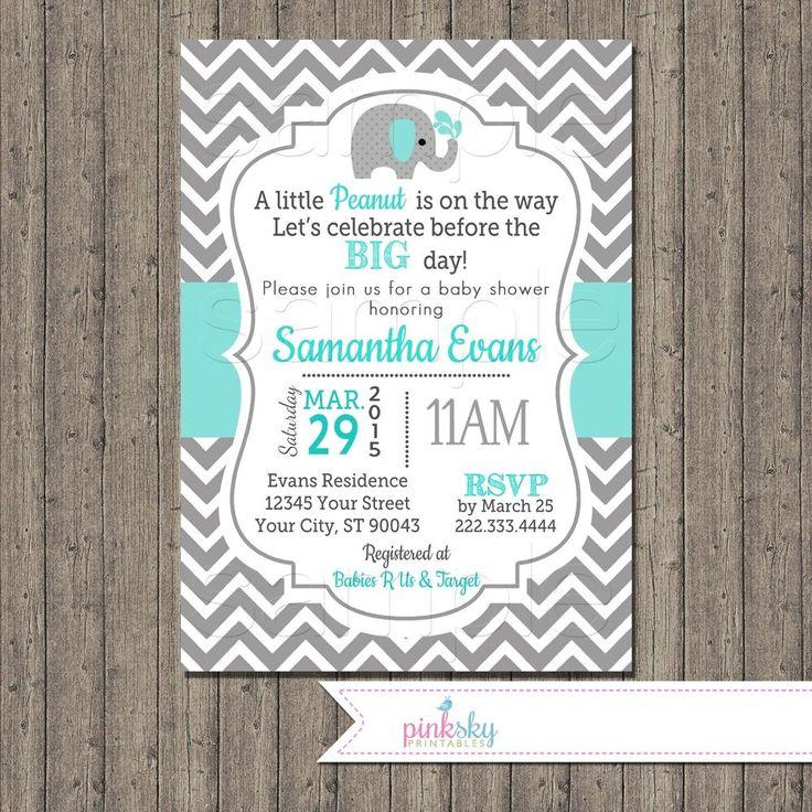 Elephant Aqua Baby Boy Shower Invitation Digital File, Chevron Elephant, Aqua