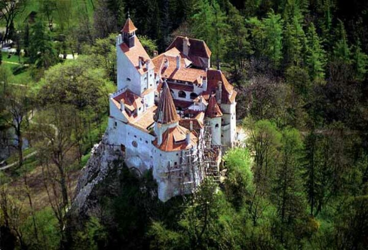 Aerial view of Dracula's castle