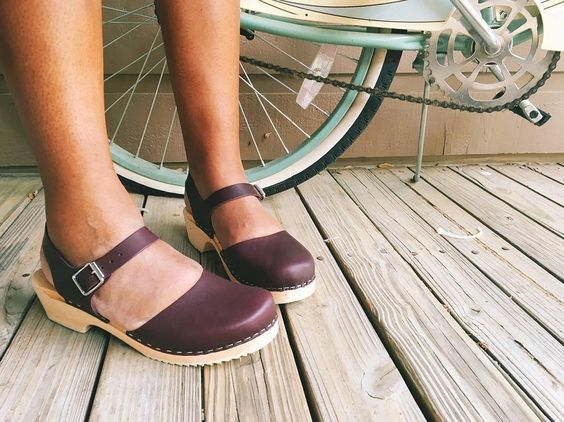 Swedish Clogs Low Wood Aubergine Leather by Lotta from Stockholm / Wooden Clogs / Sandals / Low Heel / Mary Jane Shoes