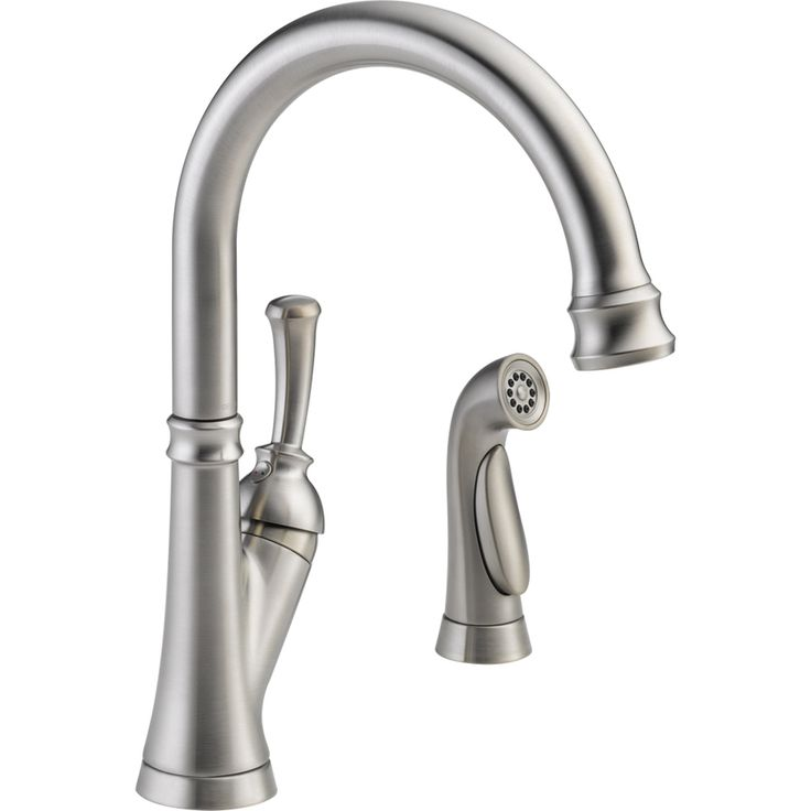 Delta Savile Stainless High Arc Kitchen Faucet With Side Spray