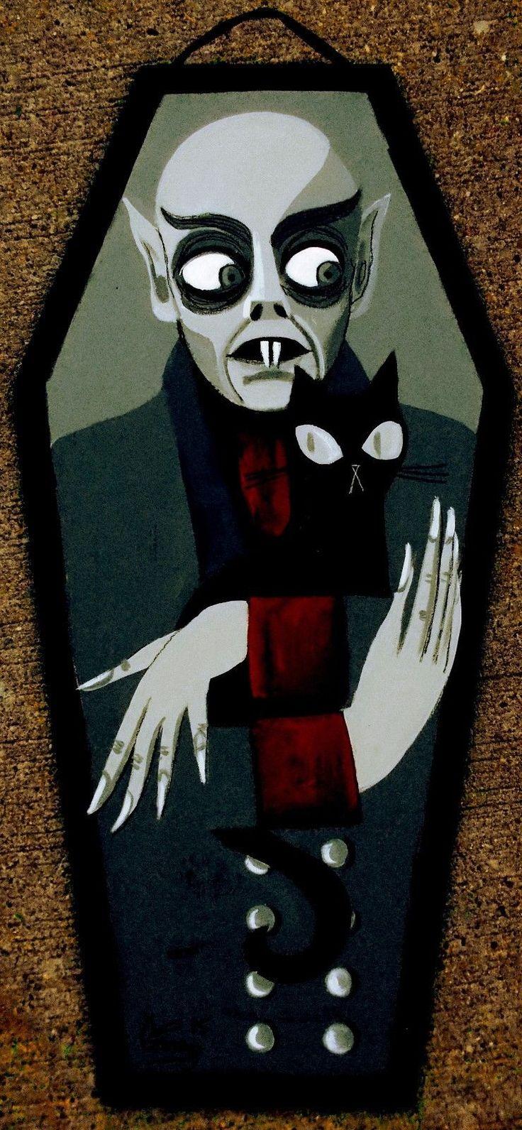 El Gato Gomez Painting Retro Nosferatu Vampire Dracula Vintage Horror Gothic Cat…