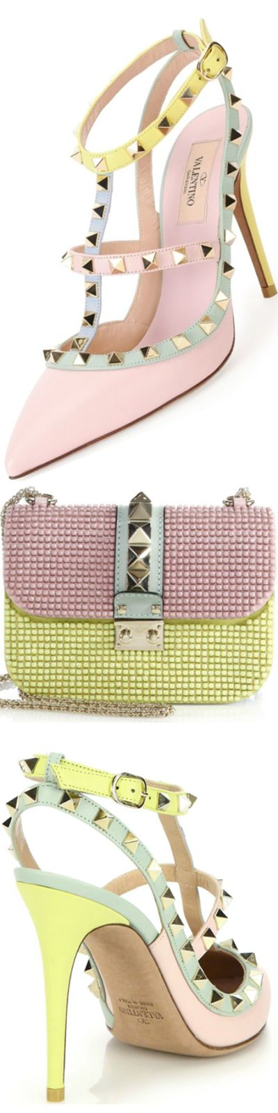 Valentino Rockstud Watercolor Colorblock Leather Pumps and Valentino Lock Small Multicolor Studded Chain Shoulder Bag