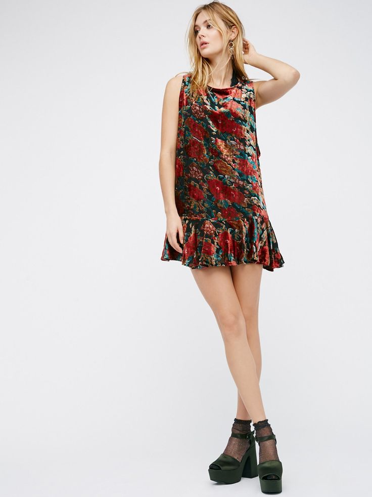 Velvet Burnout Mini Dress | American made luxe burnout velvet mini dress featuring a dropped ruffle waist, low scoop back with adjustable tie, and dropped armholes. Lined.
